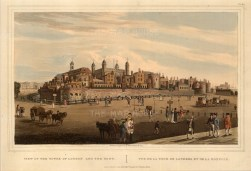 """Havell, 'Tower of London and the Mint', 1821. An original colour aquatint. 10"""" x 15"""". £POA."""