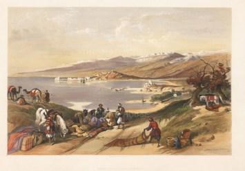"David Roberts, 'Sidon', 1848. A hand-coloured original lithograph. 15"" x 20"""