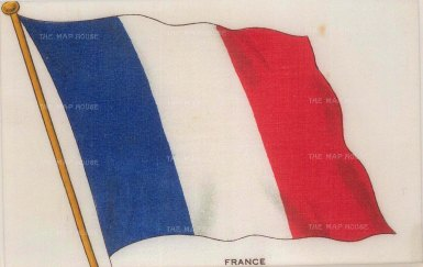 Antique French Flag / Tricolore. Printed on silk. [MISCp5395]