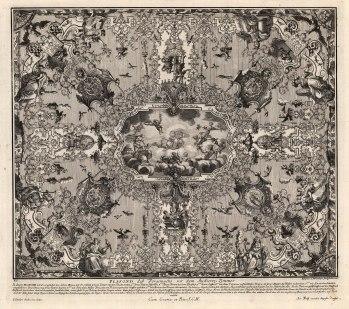"Paulus Decker, Baroque Ceiling Decoration, 1711. An original copper-engraving. 16"" x 18"". £POA."