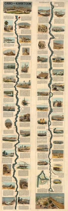 Anon: Cairo to Khartoum. Circa 1880. A hand-coloured original wood-engraving. 15 x 48 inches. [EGYp1124]
