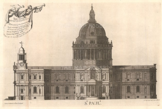 """Thomas Bowles, 'St. Paul's Cathedral - Prospect of the South End', 1732. An original black and white copper-engraving. 18"""" x 27""""."""