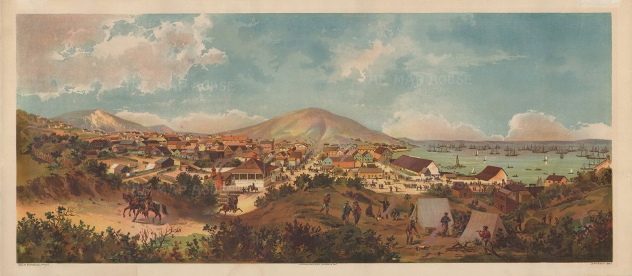 "Burgess, 'San Francisco, View of the Early Settlement', 1894. An original chromo-lithograph. 16"" x 36"". £POA."