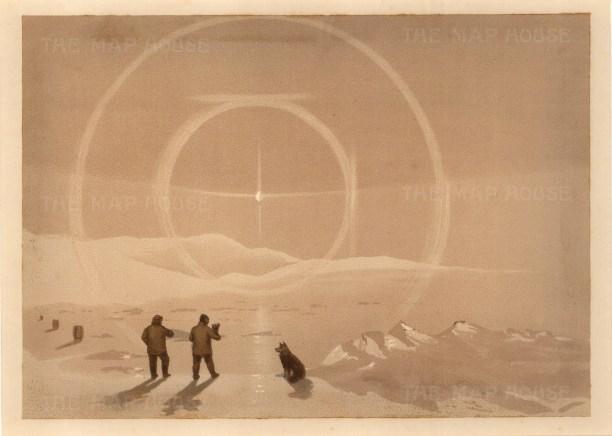 Moss: HMS Alert, Arctic c.1880. An original antique chromo-lithograph. 12 x 9 inches. [ARTp449]