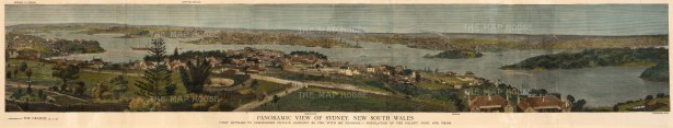 """The Graphic Magazine, 'Panoramic View of Sydney', 1879. A hand-coloured original wood-engraving. 10"""" x 49"""". £POA."""