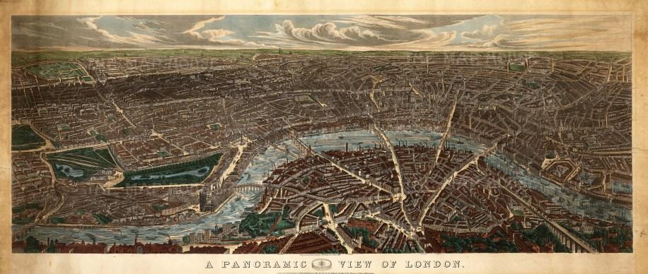 """William Wallis, 'A Panoramic View of London', 1845. An original colour aquatint. 26"""" x 48"""". £POA."""