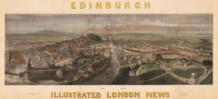 "The Illustrated London News, 'Edinburgh', c.1850. A hand-coloured original wood-engraving. 16"" x 38"". £POA."