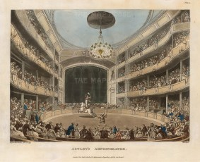 "Ackermann, Astley's Amphitheatre, 1808. An original colour aquatint. 9"" x 11"". £POA"