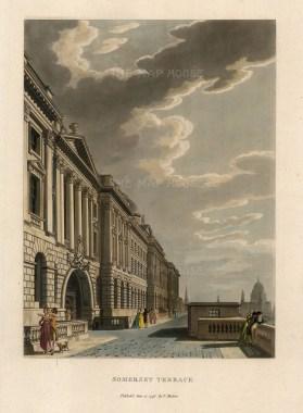 "Thomas Malton, 'Somerset Terrace', 1796. An original hand finished aquatint. 11"" x 14""."