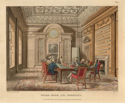 "Thomas Rowlandson, Board Room of the Admiralty, 1808. An original colour aquatint. 9"" x 11"". £POA"