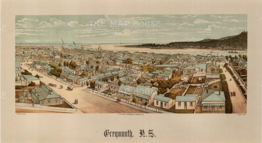 "Edward Wakefield, 'Greymouth', 1880. An original colour chromo-lithograph. 10"" x 17"". £POA."