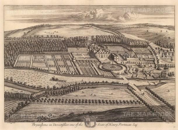 """Johannes Kip, 'Bryanstone in Dorsetshire', 1715. An original black and white copper-engraving. 14"""" x 20"""". £POA."""