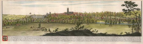 """Buck, 'South East Prospect of Warwick', 1731. A hand-coloured original copper-engraving. 9"""" x 30"""". £POA."""