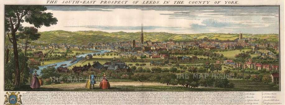 """Buck, 'The South-East Prospect of Leeds in the County of York', 1745. A hand-coloured original copper-engraving. 12"""" x 32"""". £POA."""