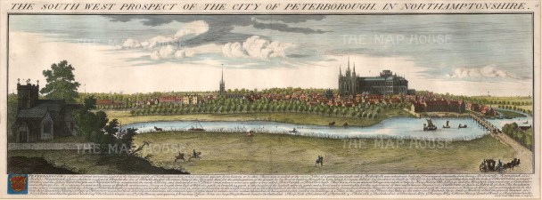 """Buck, 'The South-West Prospect of the City of Peterborough in Northamptonshire', 1731. A hand-coloured original copper-engraving. 11"""" x 31"""". £POA."""
