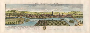 """Buck, 'The East Prospect of Derby', 1728. A hand-coloured original copper-engraving. 16"""" x 31"""". £POA."""