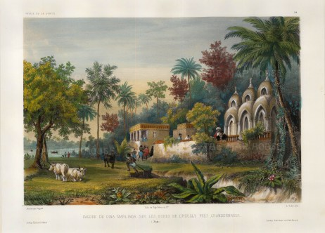 "M. Vaillant, Pagode de Dina Marlinga Sur Les Bords De L'Hougly Pres Chandernagor', c.1850. A hand-coloured original lithograph. 10"" x 13"". £POA."