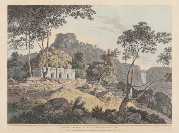 "Daniell, 'Raje Gaut, the Principal Road up to Rotas Ghur, Bahar', 1795. An original aquatint. 19"" x 25"". £POA."