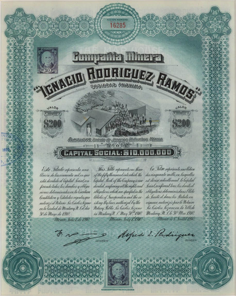 "Compania Minera of Mexico. Stock certificate worth two-hundred dollars. 9"" x 11"". £POA."