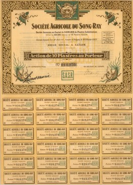 "Bond Issued by the Societe Agricole du Song-Ray. 1927. A mixed-method engraving. 10"" x 13"". £POA."