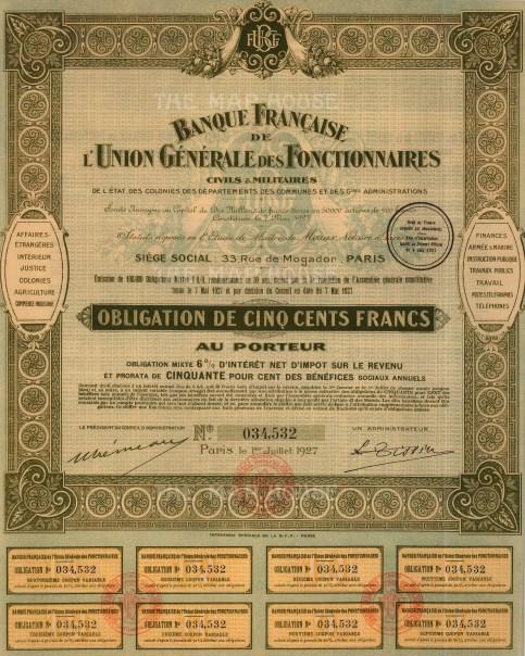 """Banque Francaise de l'Union Generale des Fonctionnaires. Share Certificate. 1927. A mixed-method engraving. 10"""" x 14"""". £POA."""