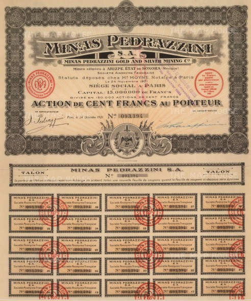 "Minas Pedrazzini Gold and Silver Mining. Share Certificate. 1921. An original colour mixed-method engraving. 12"" x 15"". £POA."