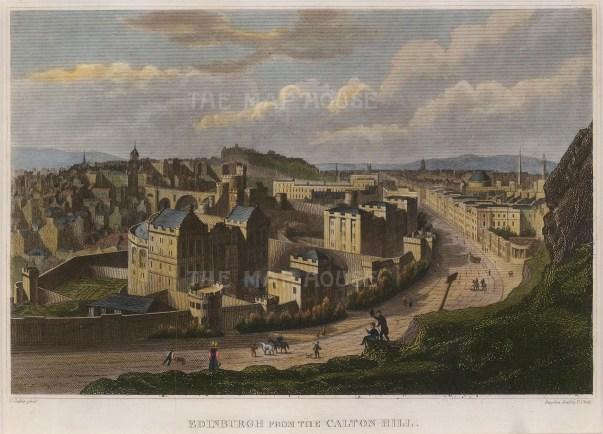 "Thomas Kelly, 'Edinburgh from the Carlton Hill', 1830. a hand-coloured original steel-engraving. 7"" x 10"". £POA."
