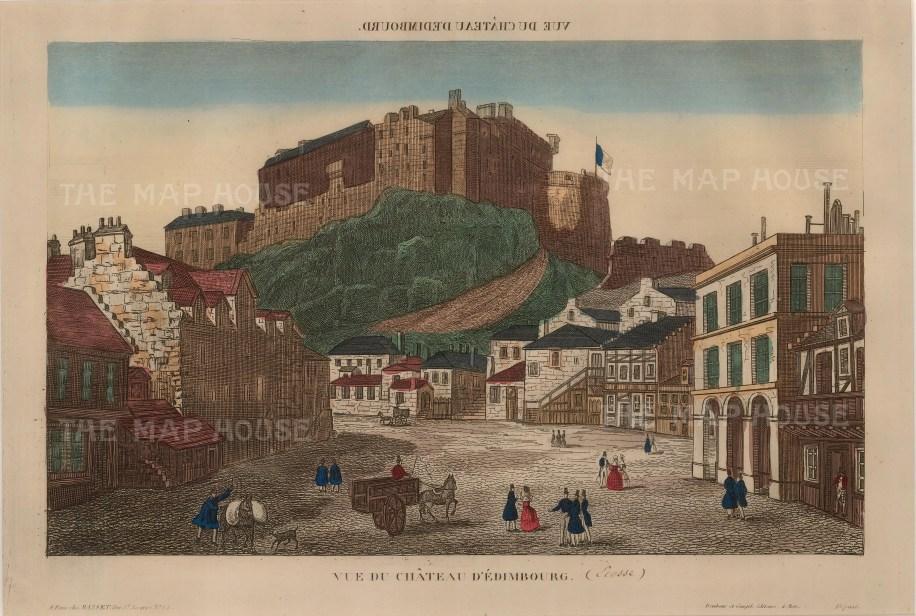 """Andre Basset, 'View of Edinburgh Castle', c.1780. An original colour etching. 12"""" x 17"""". £POA."""