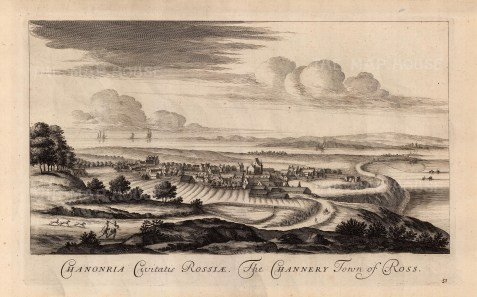 """Theatrum Scot, 'The Channery Town of Ross', 1814. An original black and white copper-engraving. 11"""" x 18"""". £POA."""