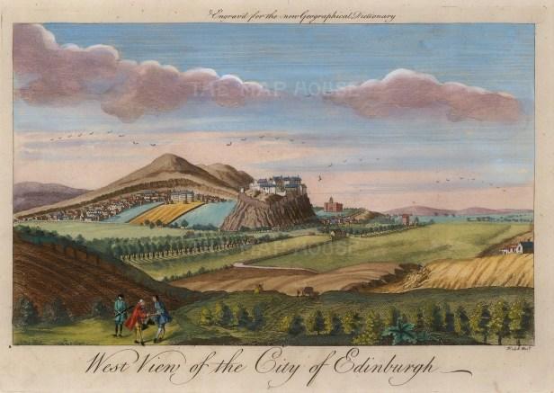 "Herman Moll, 'West View of the City Edinburgh', c.1745. A hand-coloured original copper-engraving. 8"" x 11"". £POA."