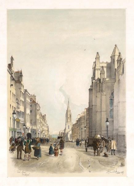 """Samuel Swarbreck, 'The High Street', Edinburgh, 1837. A hand-coloured original lithograph. 12"""" x 16"""". £POA."""