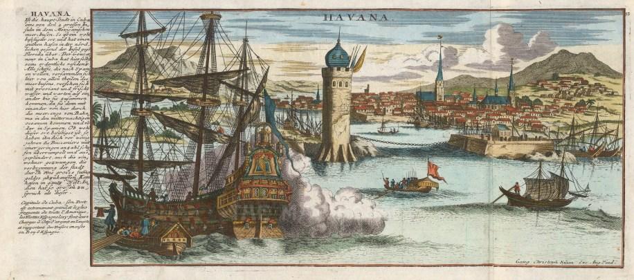 "Gabriel Bodenehr, 'Havana', 1763. A hand-coloured original copper-engraving. 7"" x 16"". £POA."