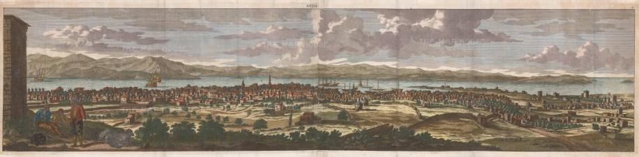 """Cornelius Bruyn, 'Scio' [Chios], 1702. A hand-coloured original copper-engraving. 12"""" x 50"""". £POA."""