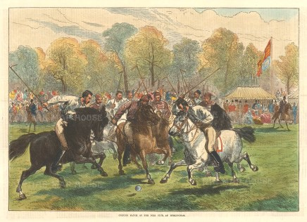 """The Illustrated London News, 'Opening Match of the Polo Club at Hurlingham', 1874. 10"""" x 14"""". £POA."""