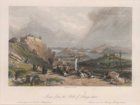 """Wright, 'Macao', 1843. A hand-coloured original steel-engraving. 7"""" x 9""""."""