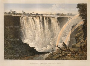 Baines: Victoria Falls, Zambia and Zimbabwe. 1865. An original antique colour lithograph. 17 x 13 inches [AFRp1192]