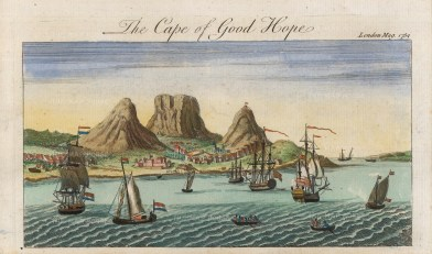 London Magazine: Cape Town, South Africa. 1754. A hand-coloured original copper-engraving. 5 x 4 inches. [AFRp1385]