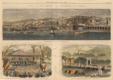 The Illustrated London News: Algiers, Algeria. 1865. A hand-coloured original antique wood-engraving. 21 x 8 inches. [AFRp1389]