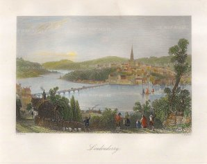 Bartlett: Londonderry. 1831. A hand-coloured original steel-engraving. 8 x 7 inches. [IREp636]