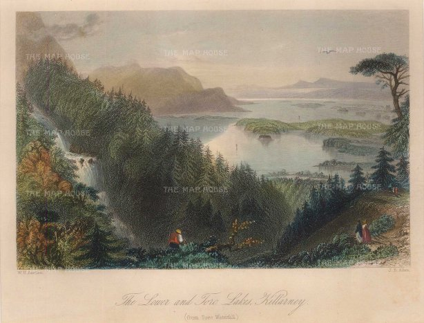Bartlett: Killarney, County Kerry. A hand-coloured original antique steel-engraving. 8 x 6 inches. [IREp680]