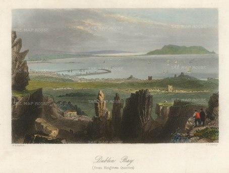Bartlett: Dublin. 1841. A hand-coloured original antique steel-engraving. 8 x 6 inches. [IREp683]