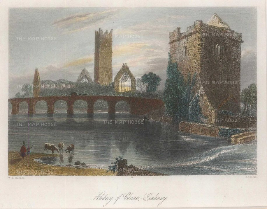 Bartlett: Clare. 1841. A hand-coloured original antique steel-engraving. 8 x 6 inches. [IREp684]