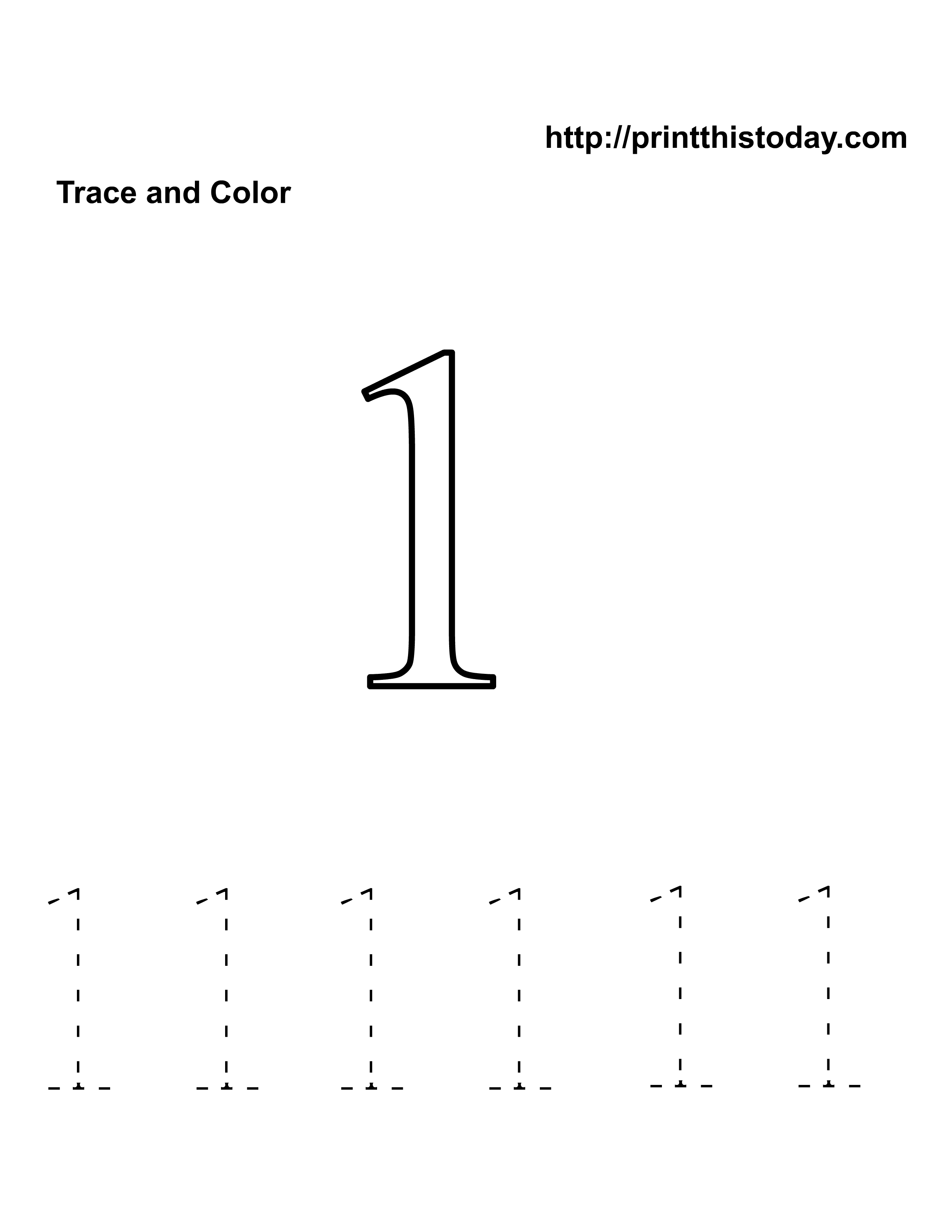 Free Kindergarten Math Worksheets Number One 1