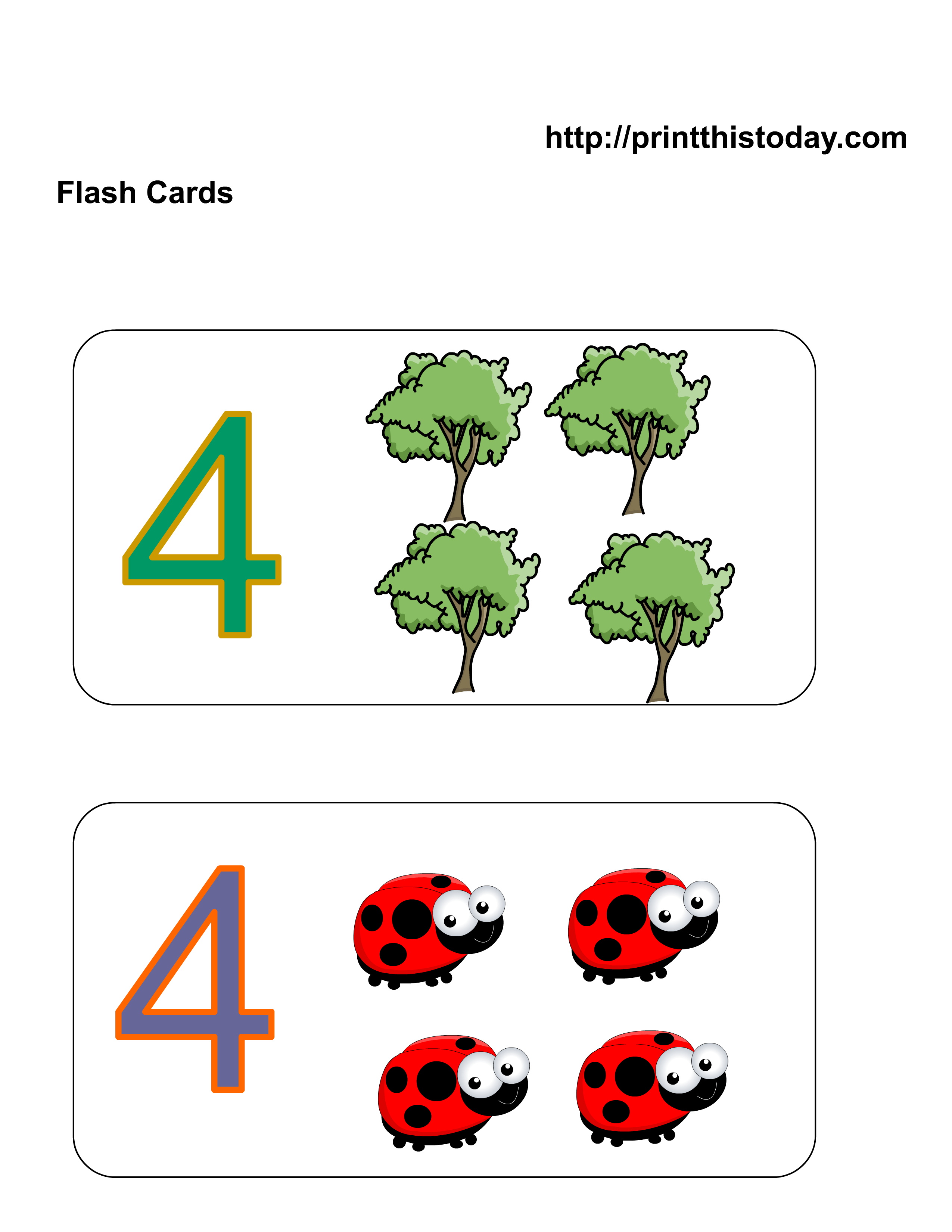 Free Kindergarten Math Worksheets Number Four 4