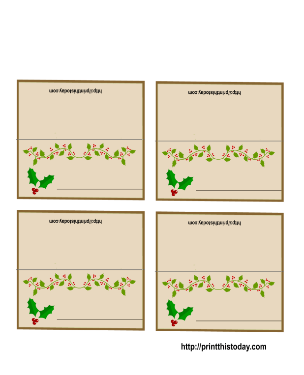 Free printable christmas table place cards template for Table placement cards templates