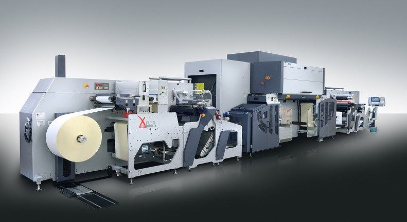 Durst Tau 330 label press with in-line Omet pre-print and finishing equipment.