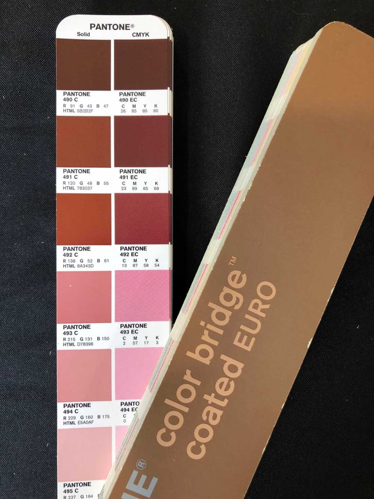 Pantone Swatch with colour breakdowns CMYK, RGB & HTML