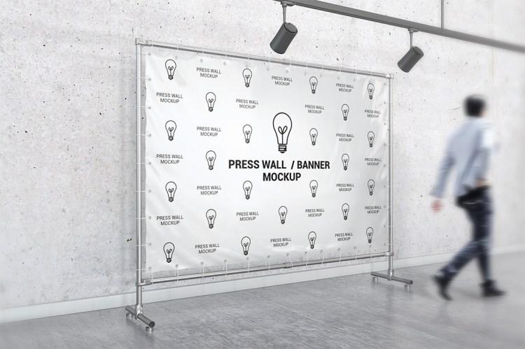 PVC Banner Hemmed Eyelets Press Wall White