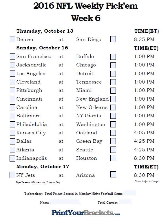 Fillable Week 6 NFL Pick'em Sheet - 2016