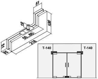 Фитинг угловой соединительный с осью T-140 PSS вырез 1